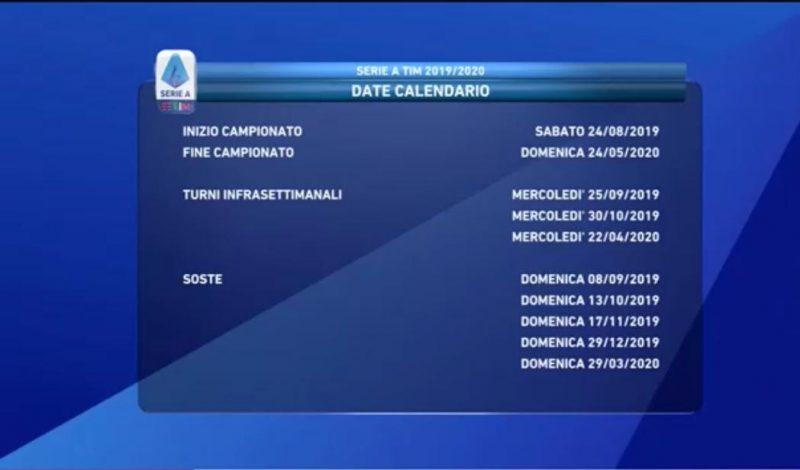 Calendario Serie A 2020 E 2020.Calendario Serie A 2019 2020 Sorteggio Live Inizia La